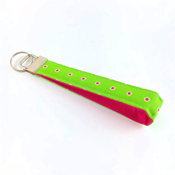 Bright Green and Pink Key Fob/Wristlet