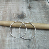 Large Sterling Silver Hammered Hoop Earrings
