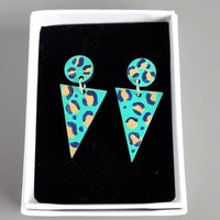 Walnut Leopard print hand painted Triangle Drop Earrings