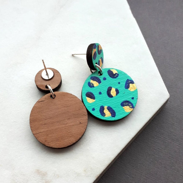 Walnut Leopard print hand painted double Circle Drop Earrings