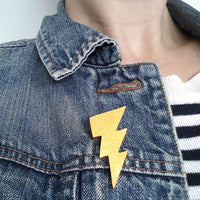 Wooden Lightning Bolt Brooch in a choice of colours