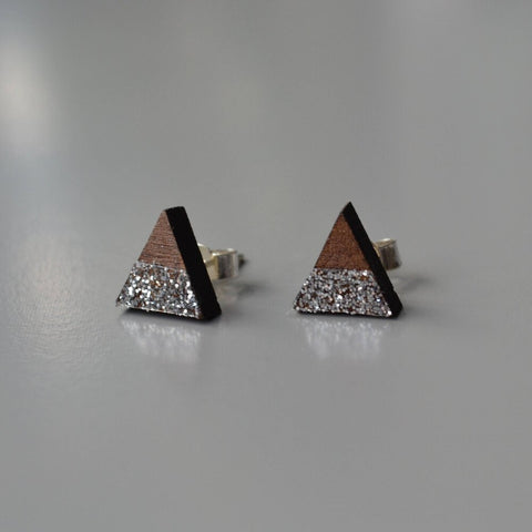 Walnut Mini Triangle Stud Earrings with Silver Glitter Stripe detail