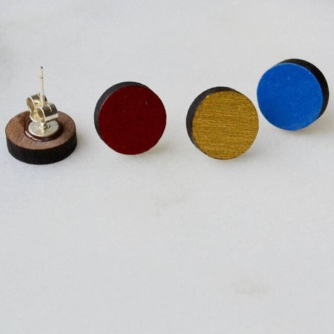 Walnut Circle Stud Earrings in Gold, Blue or Red