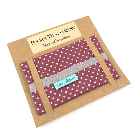 Maroon Polka Dot Pocket Tissue Holder