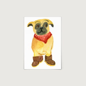Pug in Uggs 2 Print
