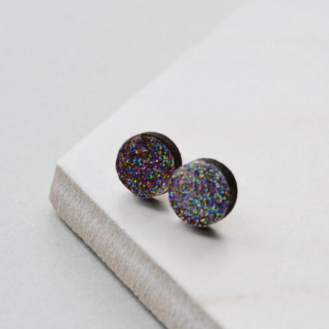 Walnut Rainbow Glitter Circle Stud Earrings
