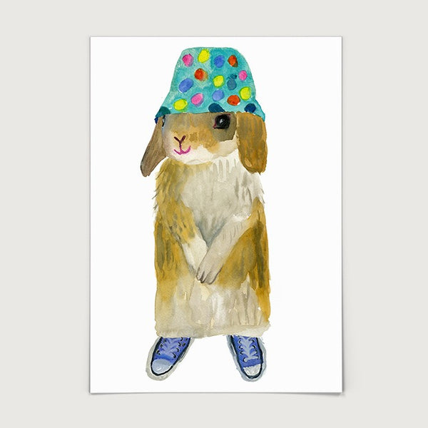Rabbit in Bucket Hat Print