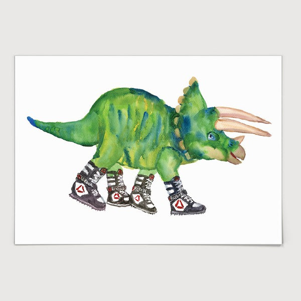 Triceratops in High Tops Print