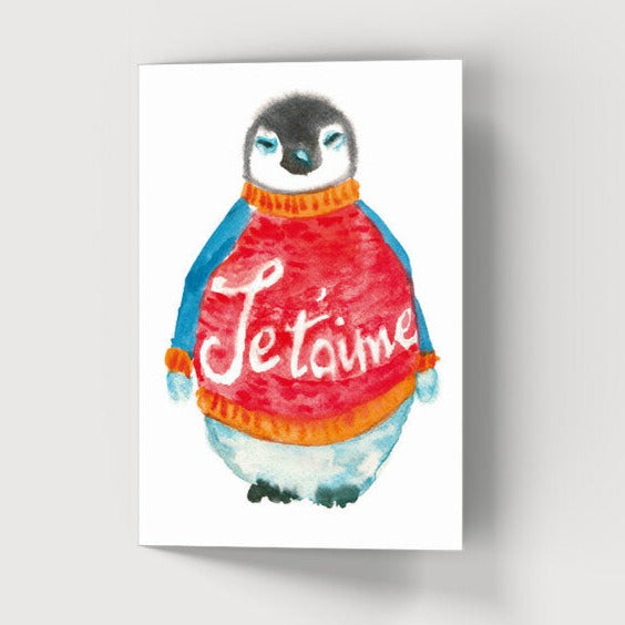 Je T'aime Penguin Card