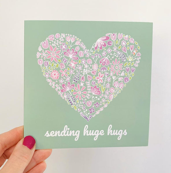 Sending Hugs Heart Card