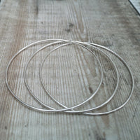 Sterling Silver Bangle Set of 3 including two with hammered detail