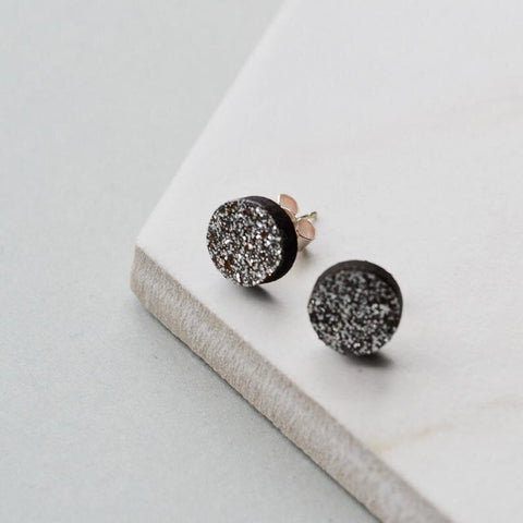 Walnut Silver Glitter Circle Stud Earrings