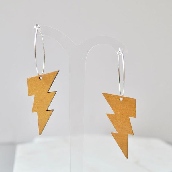 Silver Hoop Earrings with Walnut Lightning Bolts