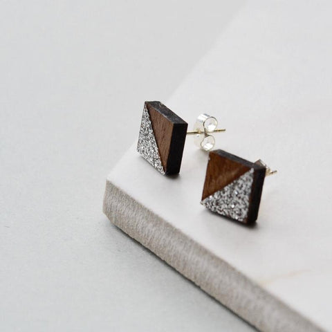 Walnut Square Stud Earrings with Silver Glitter detail
