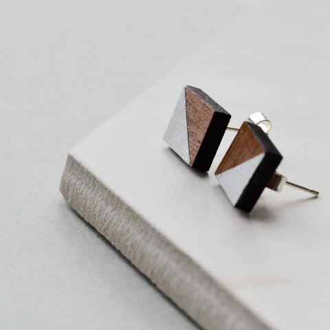 Walnut Square Stud Earrings with Silver Leaf detail
