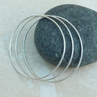 Sterling Silver Sacking Oval Bangle Set of 3
