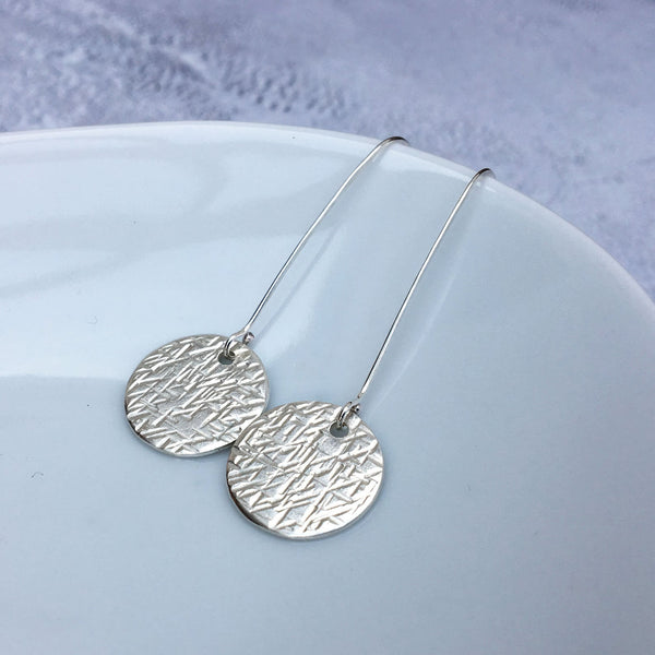 Sterling Silver Long Hammered Disc Drop Earrings