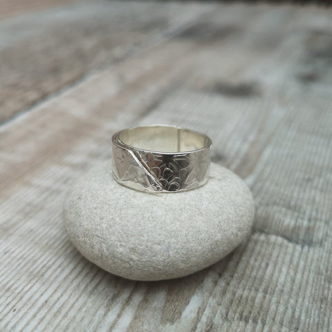 Sterling Silver Flower Textured Ring