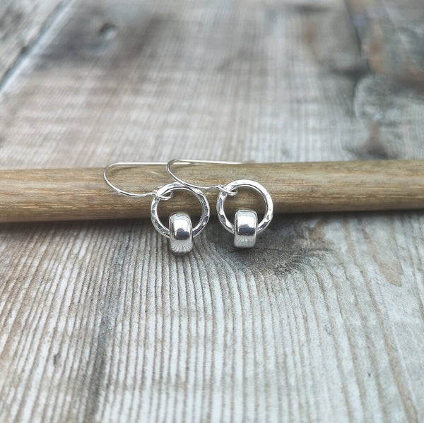 Sterling Silver Circle Stud Earrings with Bead detail