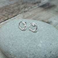 Sterling Silver Circle Stud Earrings with 4 Sterling Silver Hoops