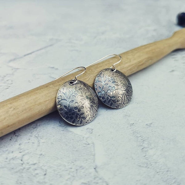 Sterling Silver Floral Patterned Disc Drop Earrings by Jewellery