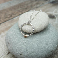 Sterling Silver Hammered Ring Necklace with Gold Detail