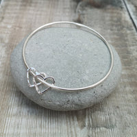 Sterling Silver Open Heart Charm Bangle