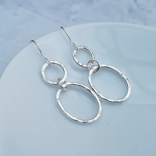 Sterling Silver Oval and Circle Drop Earrings