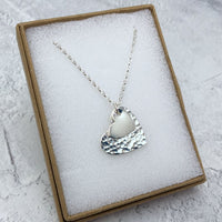Sterling Silver Necklace with Solid Hearts