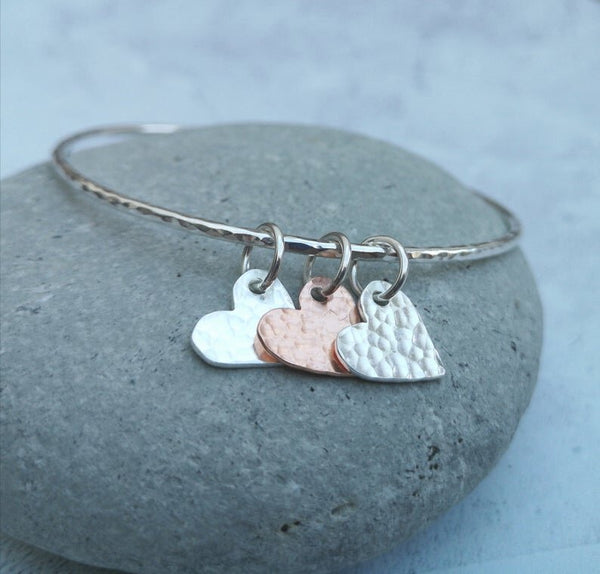 Sterling Silver and Copper Charm Heart Bangle