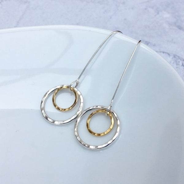 9 Carat Gold Circle and Sterling Silver Drop Earrings