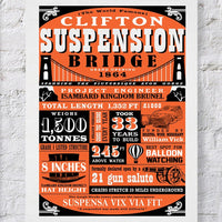 Clifton Suspension Bridge Facts Red Print