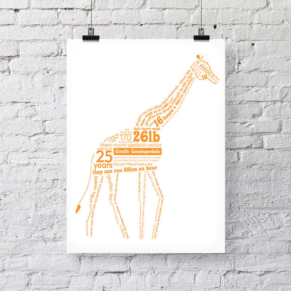 Giraffe Facts Print