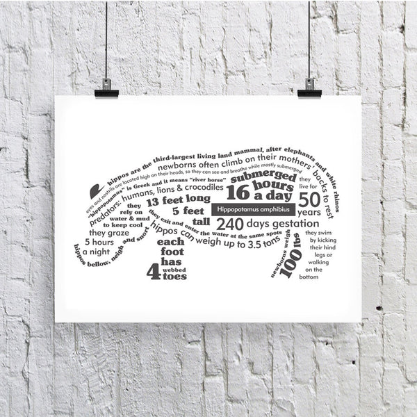 Hippo Facts Print