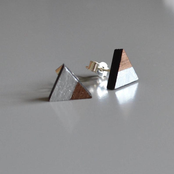 Walnut Triangle Stud Earrings with Silver Leaf detail