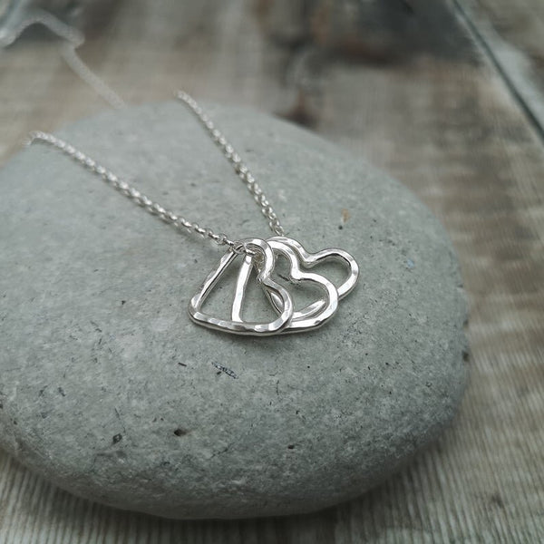 Silver Open Heart Necklace with one to five hearts