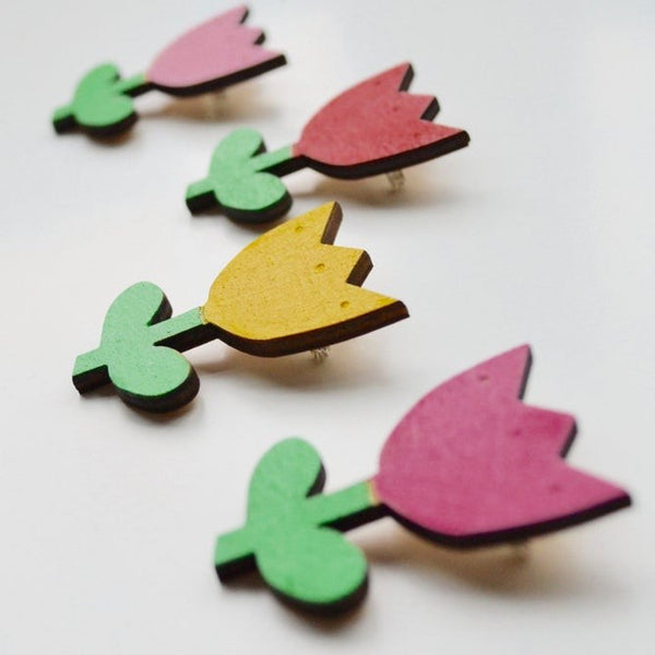 Wooden Painted Tulip Brooch in a choice of colours
