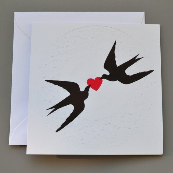 Two Swallows with Red Heart Card