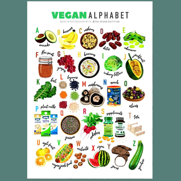 Vegan Alphabet Illustrated Print