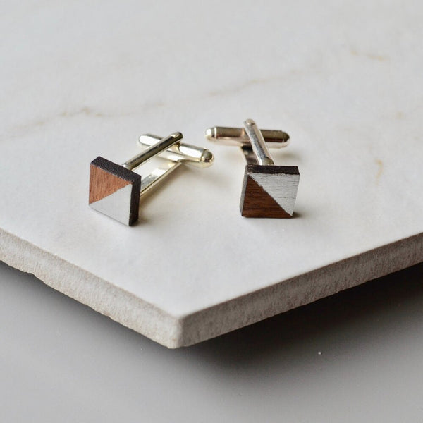 Walnut and Silver Leaf Square Cufflinks