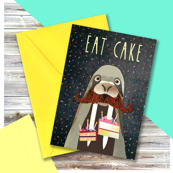 Walrus Eat Cake Greeting Card