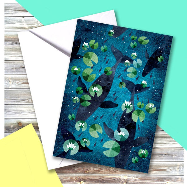 Whales Lillies Card