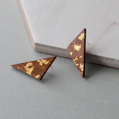 Walnut Triangle Stud Earrings with gold leaf detail