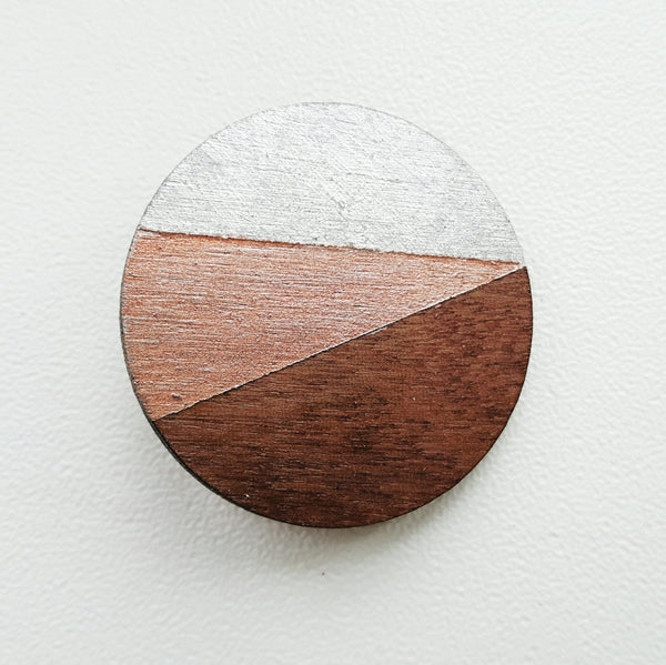 Wooden Circle Brooch