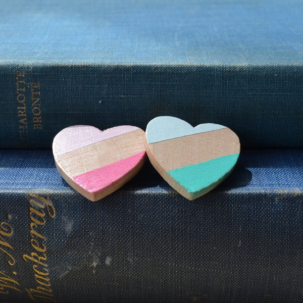 Wooden Heart Brooch in a choice of colours