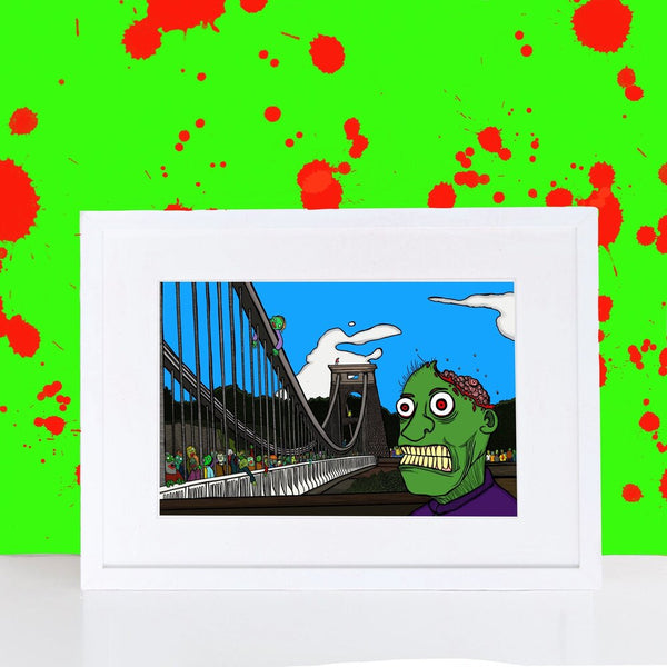 Zombies walking over Clifton Suspension Bridge Print