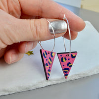 Silver Hoop Earrings with Handpainted Leopard Print Wooden Triangle