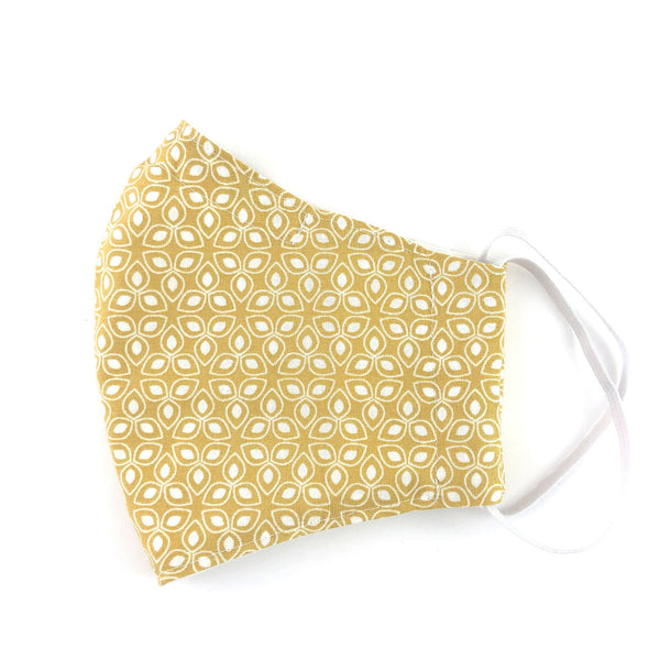 Geometric Mustard Patterned Cotton Face Mask with Filter Pocket and Removable Nose Wire, Adult Face Covering, Washable, Reusable