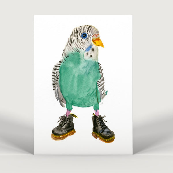 Budgie in Doctor Martens Boots Print
