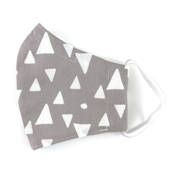 White Triangle Patterned Cotton Face Mask with Filter Pocket and Removable Nose Wire, Adult Face Covering, Washable, Reusable